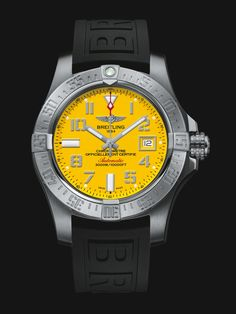 Avenger II Seawolf watch by Breitling - water-resistant stainless steel case with bright yellow face and black rubber strap