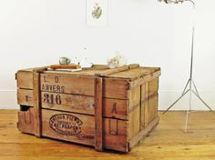 Vintage crate, industrial coffee table, trunk coffee table, rustic coffee table…