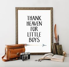 Boy Nursery Printable Art Print Thank Heaven by MossAndTwigPrints