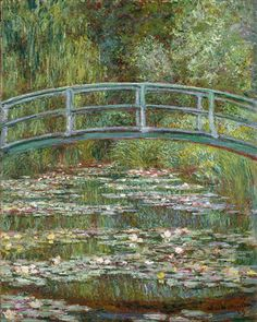 Bridge over a Pond of Water Lilies, by Claude Monet, French impressionist oil painting. In the summer of 1899 Monet completed 12 canvases of the wooden footbridge over the lily pond at Giverny , Claude Monet, Monet Paintings, Landscape Paintings, Famous Art Paintings, Famous Artwork, French Paintings, European Paintings, French Artwork, Classic Paintings