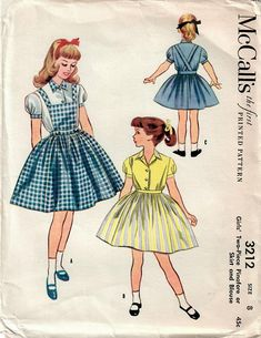 1950s McCall's 3212 UNCUT Vintage Sewing Pattern Girls