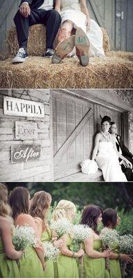 Cowboy Wedding---green dresses