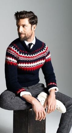 The latest men's fashion including the best basics, classics, stylish eveningwear and casual street style looks. Shop men's clothing for every occasion online Nordic Sweater, Men Sweater, Ugly Sweater, Fair Isle Pullover, Look Fashion, Winter Fashion, Womens Fashion, Mode Hipster, Tweed Pants
