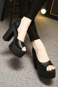 Platform Chunky Heel Black Peep Toe Shoes