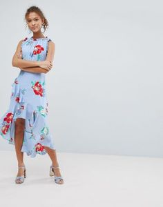 Miss Selfridge Floral Print Ruffle Shoulder Midi Dress