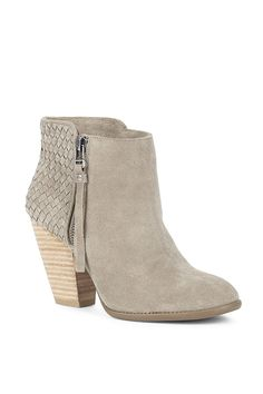 Taupe suede bootie with gorgeous woven details along the back