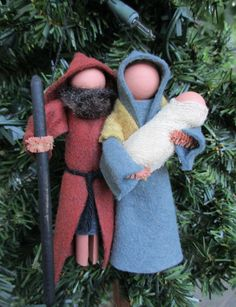 To celebrate the first Christmas, weve created a combination clothespin ornament of Joseph, Mary, and baby Jesus. Each are made using primarily a clothespin, small wood balls, and bits of wool felt. Jesus is wrapped in lightly coffee-stained cheesecloth to mimic swaddling cloth. Josephs beard is natural black sheeps fiber from a local farm, and he carries a wooden staff lightly painted and stained for a vintage look. They hang from your Christmas tree with a loop of heavy embroidery thread…