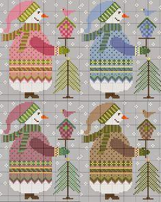 Free cross stitch patterns from gazette94: BONHOMME DE NEIGE 2014