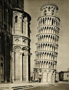 Italian government asks for suggestions on how to save the tower from collapsing (Photo from 1934)