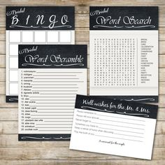 Instant Download Bridal Shower Game Set: Word Search, Bridal Bingo, Word…