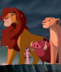 Nala and Simba looking all serious and then there's Timon and Pumba