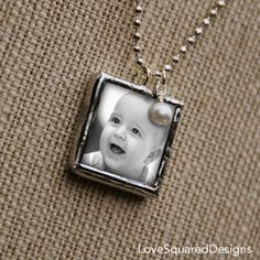 Baby photo necklace Personalized Baby Photo by LoveSquaredDesigns, $28.00