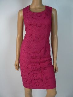 Adrianna Papell Crochet Lace Pink Cap Sleeve Sheath Cocktail Dress