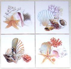 "Nautical Ceramic Tile Set of 4 kiln fired 4.25/"" x 4.25/"" Sailing Ships"