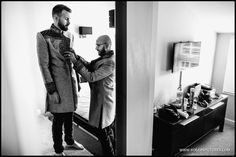 Matt and Sundeep getting ready for their wedding at the Great Barn in Ruislip -