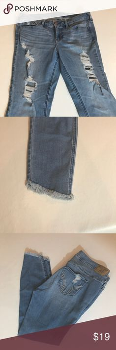 "Hollister Crop Jeans Size 27 Hollister Crop Jeans Size 27 with slanted and distressed hem. Length is approximately 21.5"" long. Inseam is app24.5"" long. Hollister Jeans Ankle & Cropped"