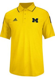Michigan Wolverines Adidas Polo Shirt - Mens Gold Spring Game 2014 Coaches Short Sleeve Polo http://www.rallyhouse.com/shop/michigan-wolverines-adidas-14850632?utm_source=pinterest&utm_medium=social&utm_campaign=Pinterest-MichWolverines $65.00