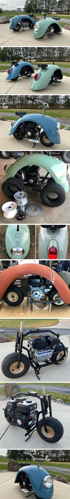 The original Volkswagen Beetle repurposed to create a fashionably old-fashioned mini bike! Mini Motorbike, Mini Bike, Motorcycle, Design Transport, Nighttime Sky, Old Car Parts, Bmw Series, Vespa Scooters, Trains