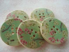 30mm Wood Buttons Pink Cream Blossom Print Pack of 6 £1.25 by berrynicecrafts