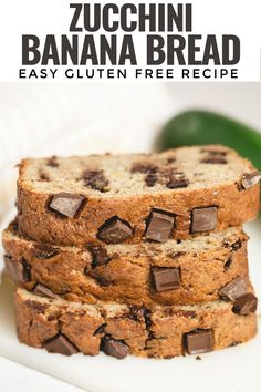 Gluten Free Zucchini Banana Bread -a brilliant way to sneak a whole garden fresh zucchini into a loaf of moist and delicious banana bread. Great for customizing with chocolate chips, chopped nuts or dried fruit.