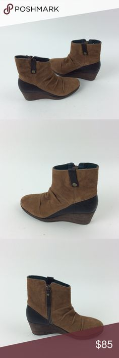 New North Face Bridgeton Wedge Zip Boots Travel across town in inclement weather with waterproof, velvet-suede, two-inch wedge boots that feature a waterproof construction to keep slush out. Bin: A34 The North Face Shoes Ankle Boots & Booties