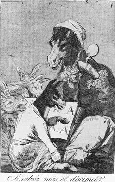 """""""Si sabrà mas el discipulo?"""" (1799) by Spanish painter and engraver Francisco José de Goya y Lucientes. Etching of the collection Los Caprichos. Madrid, Museo del Prado."""