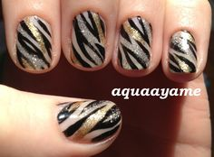 Gold and Silver Zebra Nail Art