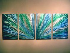 Abstract Metal Wall Art- Contemporary Modern Decor Original Radiance Blue/Green