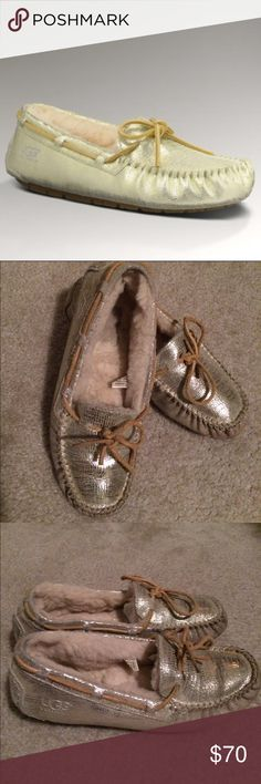 UGG DAKOTA GOLD SLIPPERS SZ 9 UGG DAKOTA GOLD SLIPPERS SZ 9 Comfortable, warm and cozy gold ugg slippers are a must have! 🚫Trades, paypal, any questions in the comments regarding price please use the offer button or they will be ignored🚫 UGG Shoes Moccasins