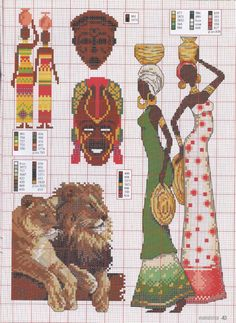 African LADY and masks x-stitch Cross Stitch Boards, Cross Stitch Bookmarks, Just Cross Stitch, Cross Stitch Designs, Cross Stitch Patterns, Cross Stitching, Cross Stitch Embroidery, African Theme, Butterfly Cross Stitch