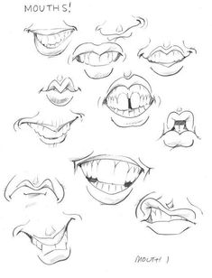 Different mouth drawing, caricature drawing, how to draw caricatures, mouths, sketches Drawing Techniques, Drawing Tips, Drawing Reference, Drawing Sketches, Drawing Tutorials, Sketching, Animation Reference, Cartoon Drawings, Cartoon Art