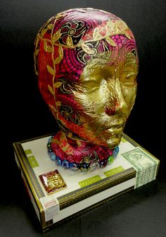 Turn an styrofoam head in to an altered art piece.