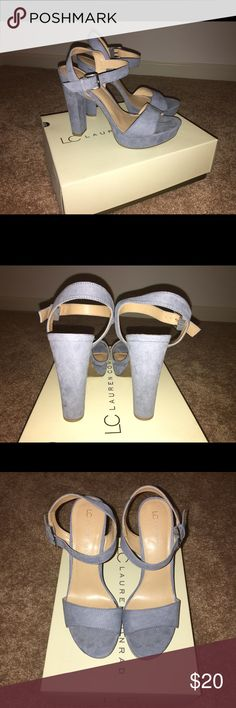 Pale Blue Chunky Heels, 5 inches Brand new in the box!! They are super cute, I just never had anywhere to wear them! LC Lauren Conrad Shoes Heels