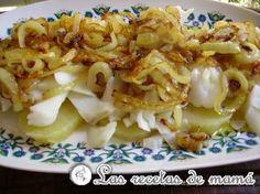 Ensalada templada de bacalao  - Los ingredientes:      Dos patatas para cocer     Dos lomos de bacalao desalado     Dos cebollas medianas     Un poco de aceite de oliva virgen extra     No necesita sal, es suficiente con la que aporta el bacalao
