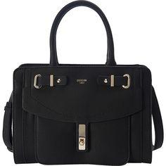 Guess Kingsley Small Satchel ($94) ❤ liked on Polyvore featuring bags, handbags, black, guess handbags, flap purse, satchel style handbag, shoulder strap purses and pocket purse