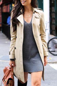 Khaki Turn Down Collar Long Sleeve Trench Coat.