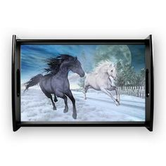 sold at @CafePress : #Freedom in the #snow #Coffee #Tray Two #horses #galloping at night through a #winter landscape. A fantastic #horse picture for all horse lovers!  $40.19