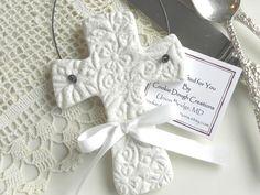 Imprinted Salt Dough Cross Ornament Wedding or Baptism Favor