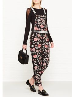 8e4a699b66 NEEDLE   THREAD Cherry Blossom Embroidered Dungarees - Black pink  Dungarees