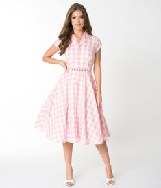 a33b4af0cc3 1950s Style Light Pink   White Gingham Alexis Swing Dress