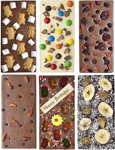 Custom Chocolate Bark from Victoriawithroses.blogspot.com.  Not a recipe, but how hard can this be??