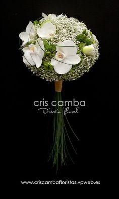 Compacted bridal bouquet featuring baby's breath and orchids. Deco Floral, Arte Floral, Bride Bouquets, Floral Bouquets, Modern Flower Arrangements, Wedding Flower Inspiration, Gypsophila, Bridal Flowers, Flower Designs