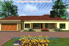 Overall Dimensions- x m Bedrooms- 2 Car Garage Area- Square meters Village House Design, Village Houses, Beautiful House Plans, Beautiful Homes, Single Storey House Plans, House Plans South Africa, Free House Plans, House Plans With Photos, Building Costs