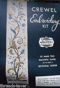 Rare Elsa Williams Crewel Embroidery Kit HAMPTON PANEL Jacobean Louise Chrimes