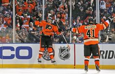 Brayden Schenn after scoring his first NHL goal. This was also the first goal scored in the 2012 Winter Classic.
