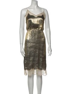 Marc Jacobs Slip DressMetallic & YellowBeaded & Mesh AccentsSleeveless with V-NeckDesigner Fit: Dresses by Marc Jacobs typically fit true to size.