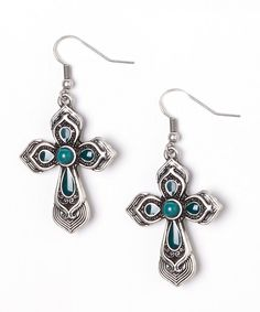 Look at this Silver & Teal Teardrop Cross Drop Earrings on #zulily today!
