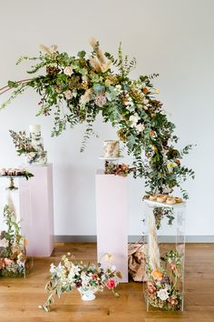 Floral Arch And Perspex Plinth For Wedding Cake Display // Environmentally Conscious Wedding Venue Casterley Barn In Wiltshire Organic Working Farm Stylish Barn Wedding Venue Images Lydia Stamps Wedding Fayre, Wedding Sweets, Dessert Wedding, Table Wedding, Cake Bars, Geometric Wedding, Floral Wedding, Metallic Wedding Cakes, Wedding Cake Display