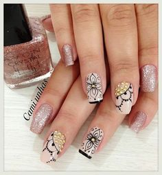 manicura con diferentes técnicas #nailart Nails Inspiration, Nail Designs, Hair Beauty, Make Up, Nail Art, White Nail Beds, Nail Colors, Art Nails, Nice Nails