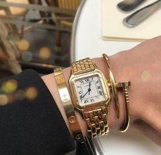 Stacking Ideas: Cartier love bracelet, Panthere De Cartier Watch and Juste un Clou Bracelet - HowToMatch. Vintage Cartier Watch, Cartier Love Ring, Cartier Gold Watch, Cartier Nail Bracelet, Cartier Jewelry, Diamond Jewellery, Love Bracelets, Fashion Bracelets, Charm Bracelets